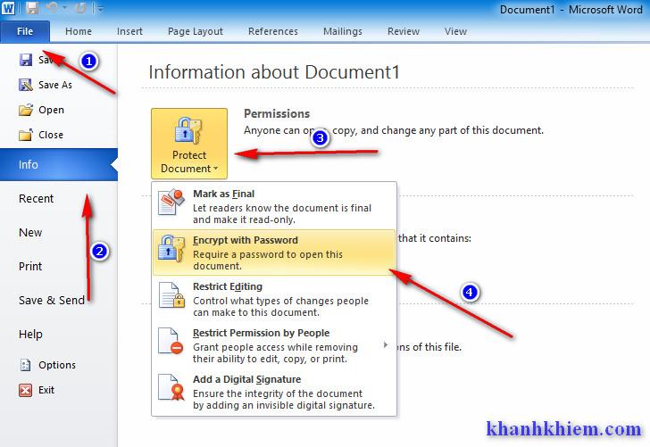 Cách tạo mật khẩu bảo vệ tài liệu word/excel/powerpoint
