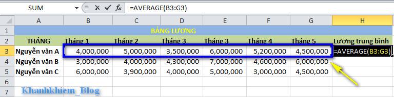 các hàm cơ bản trong excel - hàm average