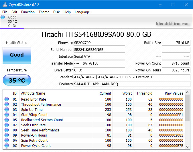 cách kiểm tra tình trạng ổ cứng bằng phần mềm CrystalDiskInfo