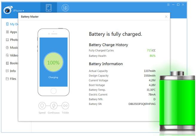 tải itools mới nhất - quản lý pin trên iphone bằng itools