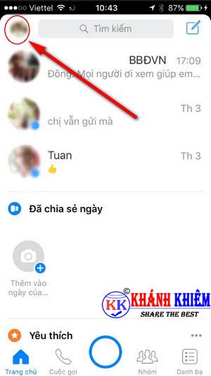 cách đăng xuất Messenger trên iphone để chuyển tài khoản 01