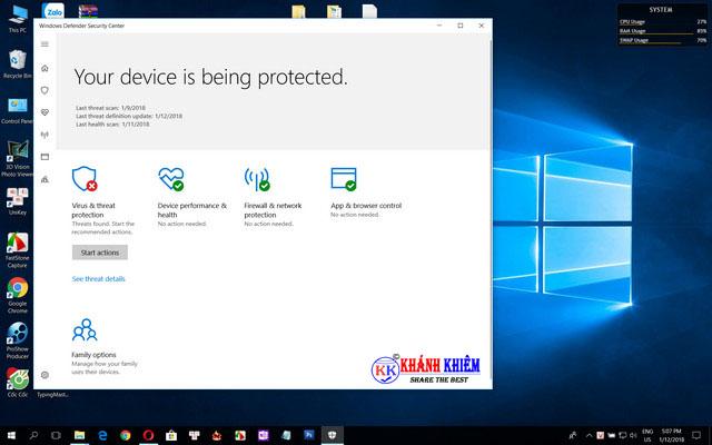 windows defender - phần mềm miễn phí thay thế phần mềm bản quyền 03