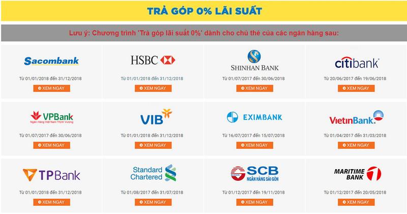 Mã giảm giá lazada, voucher lazada ưu đãi trả góp 0% đối với các chủ thẻ ngân hàng 01