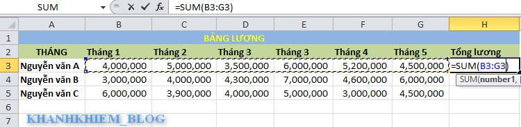 các hàm cơ bản trong excel - hàm sum