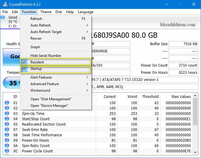 cách kiểm tra tình trạng ổ cứng bằng phần mềm CrystalDiskInfo 02