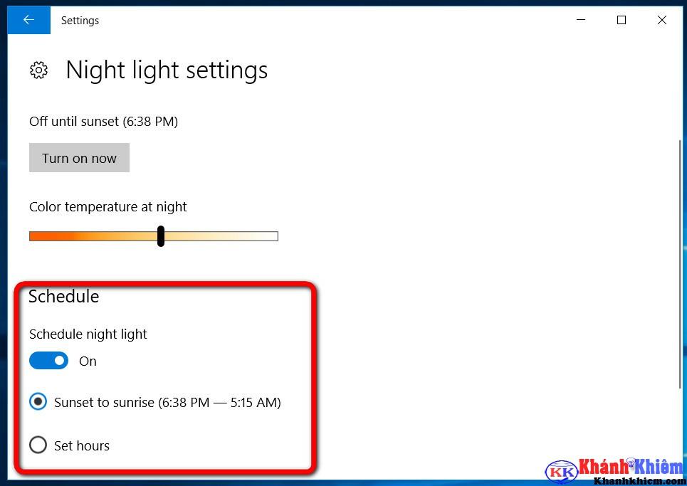 cách bật chế độ ban đêm trên windows 10