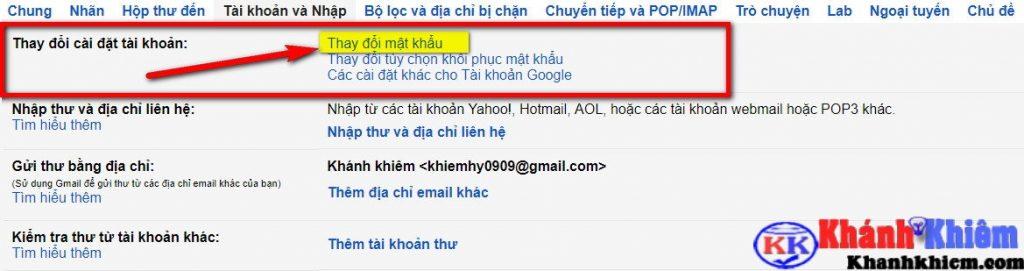 Hướng dẫn đổi pass Gmail