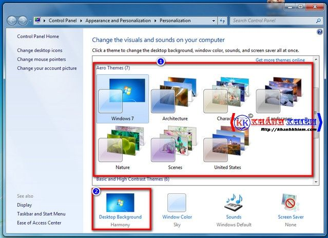 Cách đổi hình nền máy tính win 7