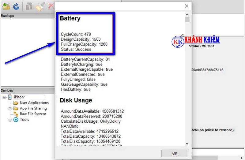 Cách kiểm tra pin iphone - phần mềm kiểm tra độ chai pin iphone iBackupBot 01