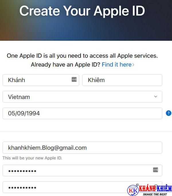 cách tạo id apple trên máy tính 01