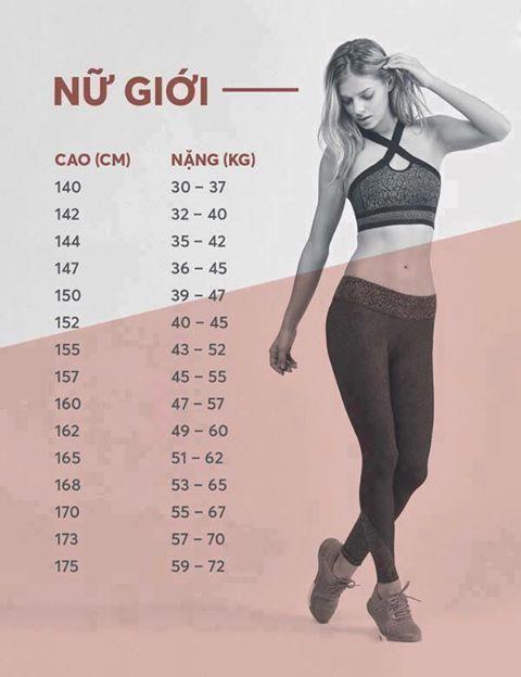 chiều cao cân nặng chuẩn của nữ giới