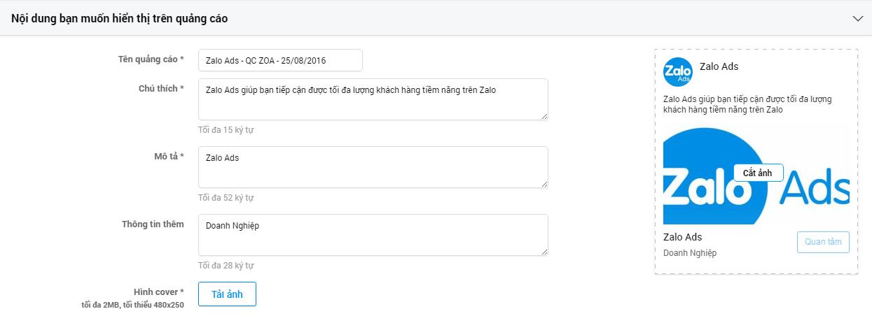 Bước 5: Chuẩn bị nội dung quảng cáo Zalo OA