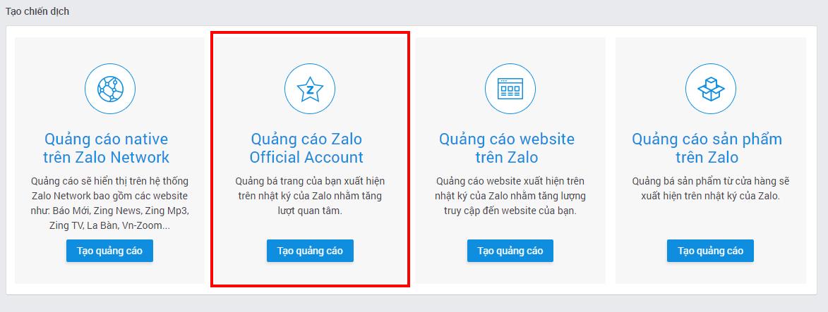 Bước 2: Thiết lập quảng cáo Zalo OA